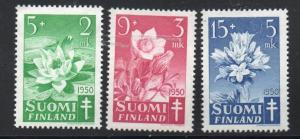 Finland Sc B101-3 1950 Anti TB Wildflowers charity stamp set mint