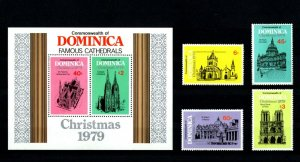 DOMINICA - 1979  - CATHEDRALS - ST PAUL'S - NOTRE DAME - ST PATRICK'S + MNH SET!