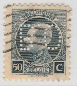 Perfin Belgium 1921-25 50c Used Stamp A19P48F964