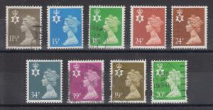 Great Britain, Northern Ireland Machins, Sc NIMH16/58. 1971-93 issues, 9 diff