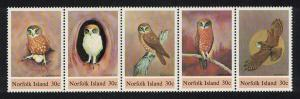 Norfolk Birds Boobook Owl strip of 5 SG#338-342 SC#343