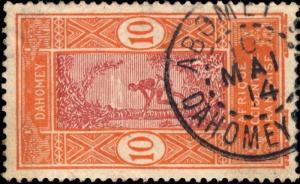 DAHOMEY - 1914 - CAD DOUBLE CERCLE ABOMEY / DAHOMEY & DEPces SUR N°47