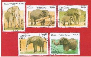 Laos #1329-1333  VF used  Elephants  short set   Free S/H