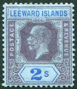 LEEWARD ISLANDS-1922 2/- Purple & Blue/Blue Sg 55 MOUNTED MINT V33898