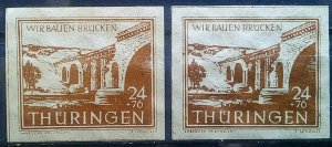 Gemany Allied Occupation Thuringen Mi 115 a+b **