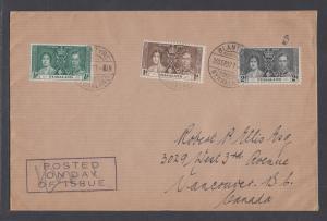 Nyasaland Sc 51-53 FDC. 1937 Coronation, cplt set on Selfridge & Co cover