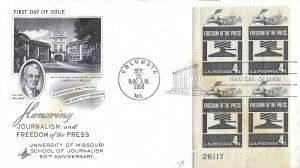 #1119, 4c Freedom of the Press, Art Craft cachet, plate block of 4