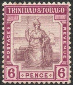 TRINIDAD & TOBAGO-1913-23 6d Dull & Reddish Purple Sg 153 MOUNTED MINT V46174