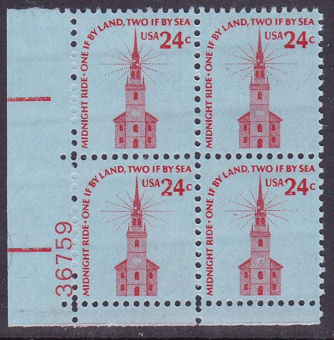 United States1975 24c Americana Series Old North Church Plate Number Block VF/NH