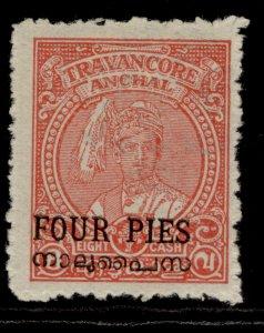 INDIAN STATES - Travancore-cochin GVI SG2, 4p on 8ca carmine, M MINT.
