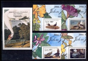 024134 BIRDS ADUBON set UGANDA MNH #24134