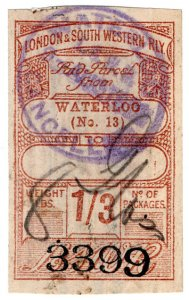(I.B) London & South Western Railway : Paid Parcel 1/3d (Waterloo)