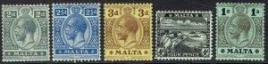 MALTA 1914 KGV PICTORIAL RANGE TO 1/- WMK MULTI CROWN CA