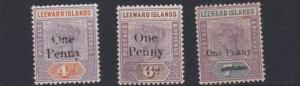 LEEWARD ISLANDS  1902    S G  17 - 19  VALUES TO 1D  ON 7D  MH HAS CREASE
