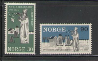 Norway Sc 477-8 1965 Harmonien 200 yrs stamps mint NH