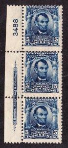 US 304 5c Lincoln Margin Inscription Plate #3488 Strip of 3 OG H/NH SCV $330