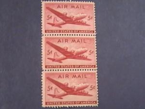 U.S.# C32-MINT/NH-STRIP OF 3- CARMINE--AIR-MAIL--DC-4 SKYMASTER---1946