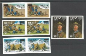 1985 Bhutan Boy Scouts BadenPowell revalued IMP pairs