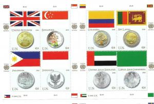 Doyle's_Stamps:Choice Matched 2008 U.N.Flags & Coins Stamp Sets NY-Geneva-Vienna
