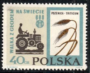 POLOGNE / POLAND - 1963 Mi1371 40gr. Tractor, wheat (Triticum aestivum) MNH**