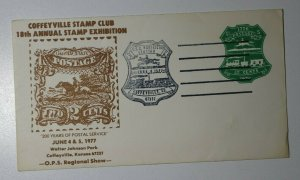 CSC Exhibition Coffeyville KS 1977 200 Years Postal Service U582 Postage Cover