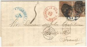 U.S., 10c Jefferson Pair Used on 1873 Cover to France, 9 Postal Markings