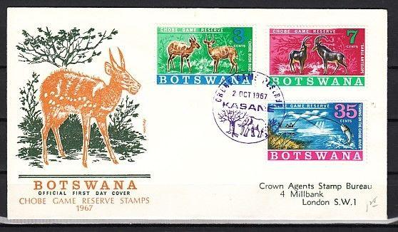 Botswana, Scott cat. 37-39. Game Preserve issue. First day cover.