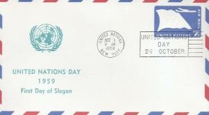 UNITED NATIONS DAY 1959 - First Day of Slogan Cancel