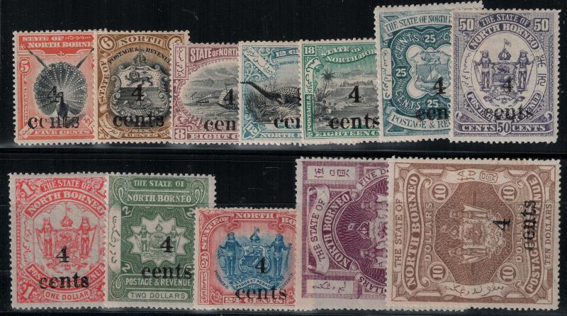 North Borneo 1904 124-135 Set LH CV$205
