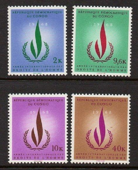 Congo 1968 Human Rights Flame VF MNH (625-8)