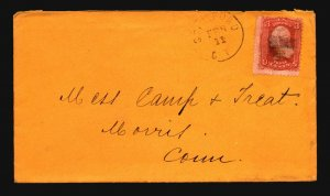 US 1860s 3c Grilled Cover / Stanford CT CDS - Z18626