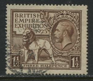 GB KGV 1925 1 1/2d Wembley used