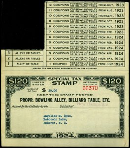 U.S. REV. STAX -PROP. BOWLING ALLEY FYE 1924  Used (ID # 61905)- L