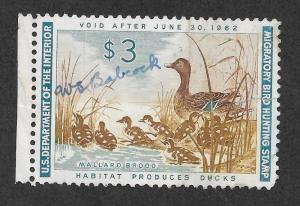 RW28 Used, Federal Duck Stamp, scv: $12.50, FREE INSURED SHIPPING