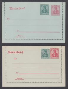 Germany Mi KZP 1I, KZP 1V mint. 1917 surcharged Letter Cards, fresh, VF.