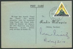 MALAYSIA 1966 postcard 10c triangle BAGAN TIANG / PERAK cds...............39170
