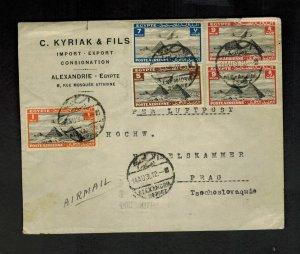 1936 ALexandria Egypt Airmail Cover to Prague Czechoslovakia