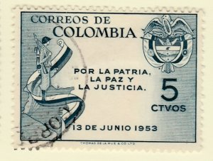 Colombia 1954 5c Fine Used A8P55F115