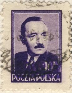 POLOGNE / POLAND 1950 GROSZY O/P T.3 (Katowice Kt.1c violet) Mi625 used SKOCZOW