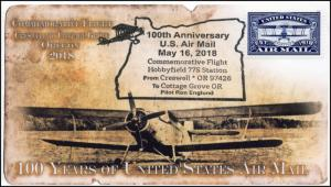 18-310, 2018, Air Mail, 100Years, Pictorial, Postmark, Cottage Grove OR, Event C