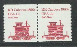 1984 US Transportation Issue,11c Caboose,Railroad car Coil Pair,Sc 1905,VF MNH**
