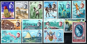 Turks And Caicos #158-71 MNH CV $17.75 (X1386)
