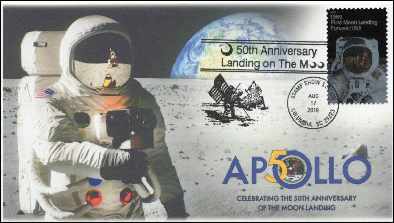 19-203, 2019, Moon Landing, Pictorial Postmark, Event Cover, Apollo 11, Columbia