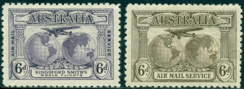 Australia Scott #C2-C3 MH Airplane and Globes CV$23+