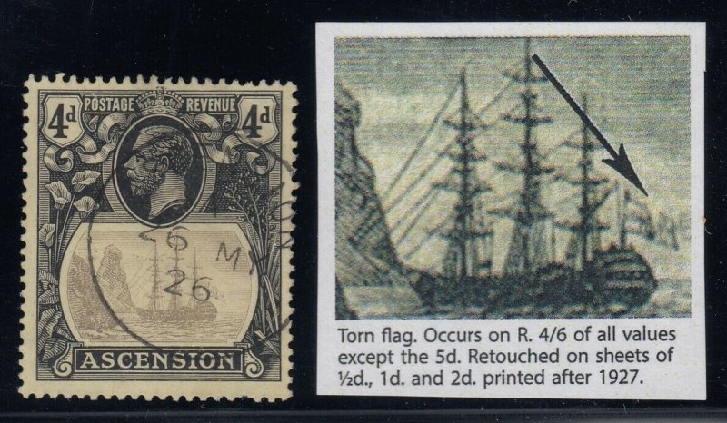 Ascension, SG 15b, used, Torn Flag variety