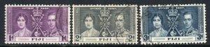 Fiji 1937 Coronación Juego Sg 246-248 Usado