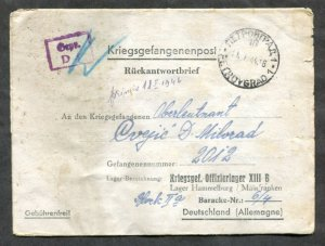 p379 WW2 SERBIA Petrovgrad 1944 CENSORED Cover to POW Lager Hammelburg GERMANY