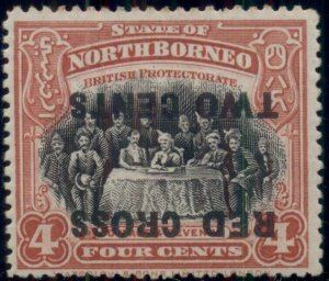NORTH BORNEO #B17a, 4¢ + 2¢ INVERTED Surcharge, og, NH, fault, B.P.A. cert