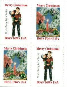 Vintage 80s Boys Town USA Christmas Stamps He Ain't Heavy He's My Brother