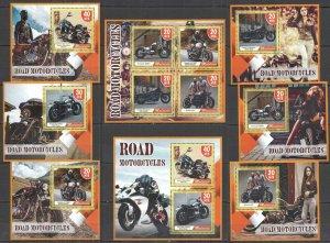 H1307 2018 MALDIVES ROAD MOTORCYCLES TRANSPORT !!! 7BL+1KB MNH